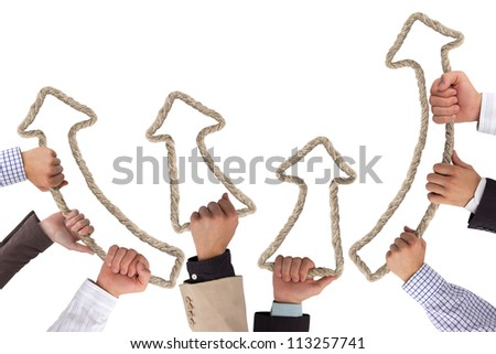 Business hands holding rope forming arrows pointing upwards - stock photo