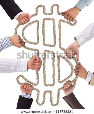 Business hands holding rope forming Dollar