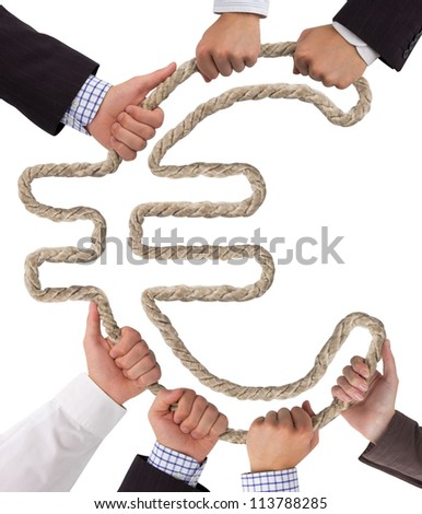 Business hands holding rope forming Euro