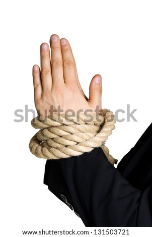 business hands in chains, isolated on white