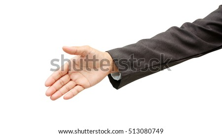 Business handshake and business people concepts, single hand isolated on white background,with clipping path.