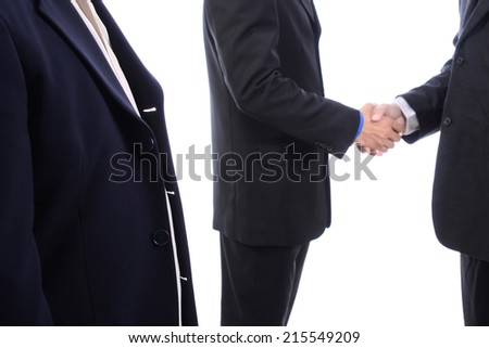 Business handshake and witness isolated on white background