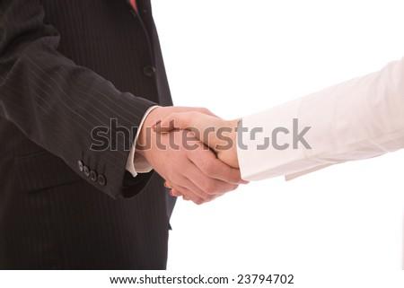 Business handshake between businesswoman and businessman - stock photo
