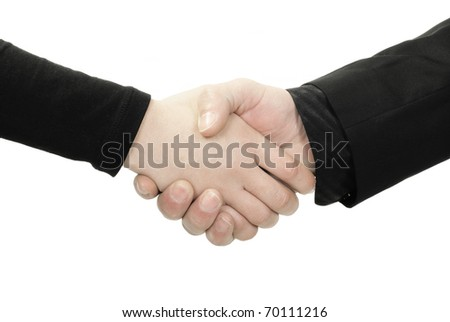 Business handshake between man and woman isolated on white background - stock photo