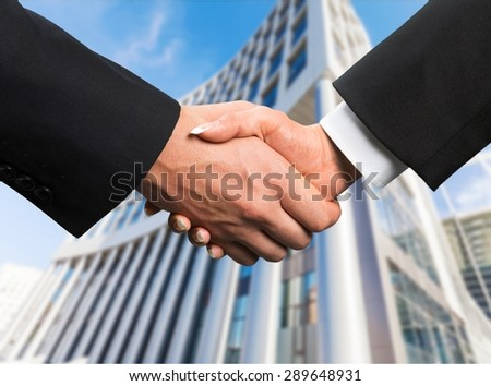 Business, Handshake, Built Structure. - stock photo