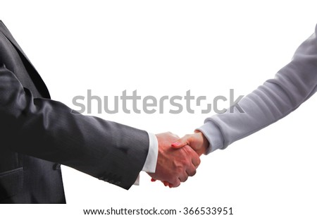 Business handshake. Businessman and businesswoman shaking hands. Isolated white background