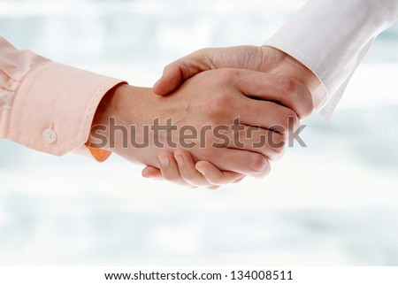 Business handshake: businesswoman and businessman make agreement - stock photo