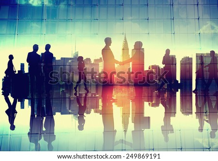 Business Handshake Corporate Partnership Agreement Cityscape Concept - stock photo