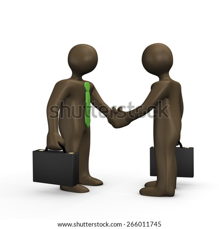Business handshake 3d illustration with black cartoon characters