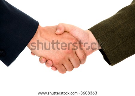 business handshake deal - isolated over a white background