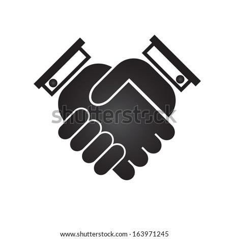 Business handshake icon, black silhouette on a white background, raster version - stock photo