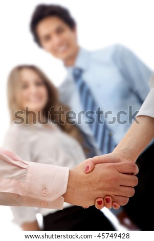 Business handshake in a corporate environment isolated