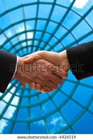 business handshake in front of some windows - stock photo