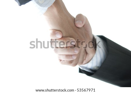 business handshake isolated in white