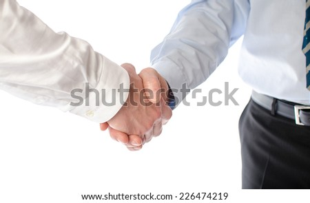 Business handshake, isolated on white