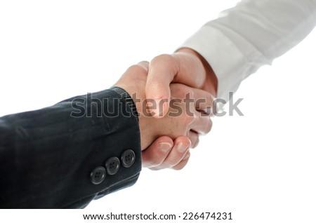 Business handshake, isolated on white - stock photo