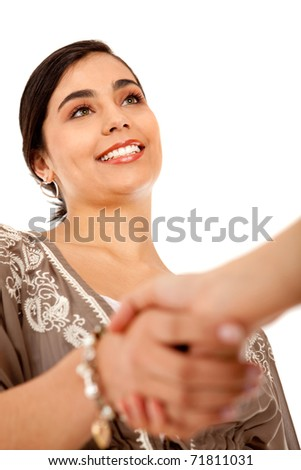 business handshake - isolated over a white background - stock photo