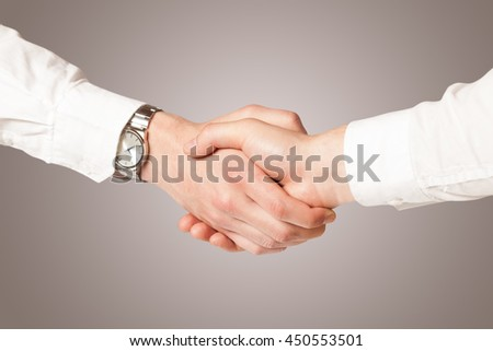 Business handshake on gradient background