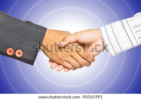 Business handshake on gradient background, greeting or agreement concept - stock photo