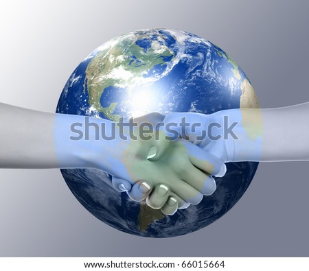 Business handshake on the background of the Earth. The symbol of a successful business. - stock photo