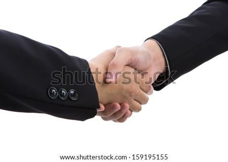 Business handshake over white background - stock photo