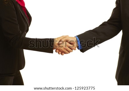 business handshake sealing the deal isolated on white. - stock photo
