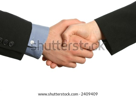 Business handshake with male and female business partners - stock photo