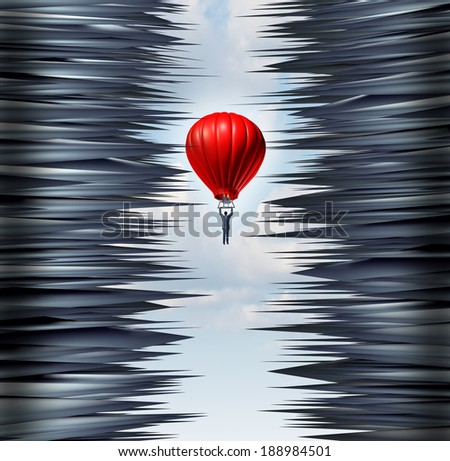 Business hazard and financial management concept as a businessman guiding a red hot air balloon through a dangerous maze of pointy spikes as a crisis metaphor and icon of success in difficult times. - stock photo
