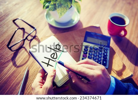 Business Help Support Office Stratery Working Concept - stock photo