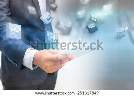 business holding business world. - stock photo