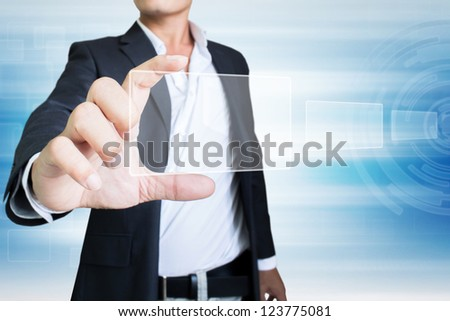 Business  Holding  Futuristic Screen - stock photo