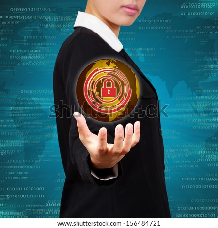 Business holding globe virtual screen of security. Concept of security business Information systems and networks. - stock photo