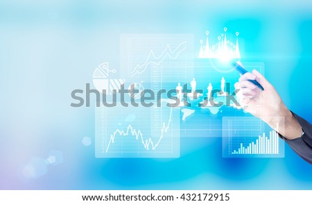 Business, HR and teamwork concept  with businesswoman hand drawing abstract chart and puzzle pieces with people silhouettes on blue background - stock photo