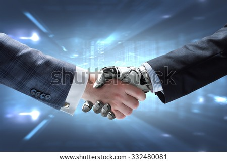 Business Human and Robot hands in handshake. Artificial intelligence Conceptual Technology Design On shining abstract background - stock photo