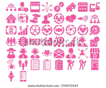Business Icon Set. These flat icons use pink color. Glyph images are isolated on a white background.