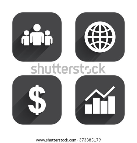 Business icons. Graph chart and globe signs. Dollar currency and group of people symbols. Square flat buttons with long shadow. - stock photo