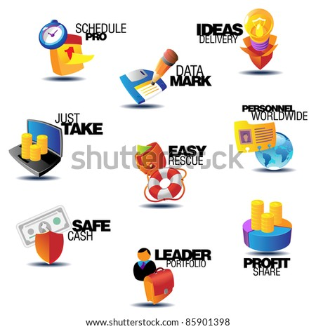 Business icons. Heading concepts for document, article or website. Raster version. Vector version is also available. - stock photo