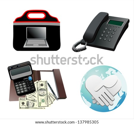 business icons, human resource, finance, logistic icon set - stock photo
