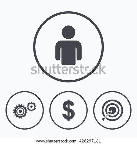 Business icons. Human silhouette and aim targer with arrow signs. Dollar currency and gear symbols. Icons in circles. - stock photo