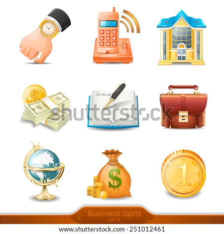 Business icons set 4 illustration - stock photo