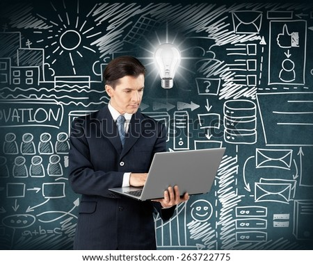 Business. Idea concept. Asian male with laptop in his hands shows OK, with lamp above his head - stock photo