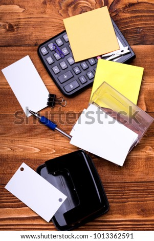 Business idea concept business card copy stock photo safe to use business idea concept business card with copy space and binders near sticky notes and hole colourmoves
