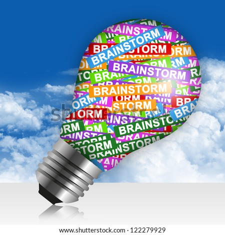 Business Idea Concept Present By Colorful Brainstorm Label in Light Bulb in Blue Sky Background - stock photo