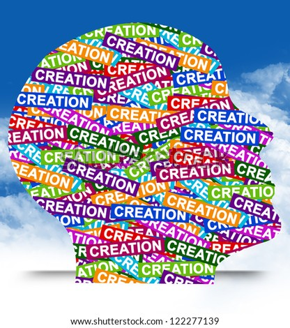 Business Idea Concept Present By Colorful Creation Label in Head in Blue Sky Background - stock photo