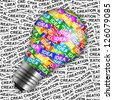 Business Idea Concept Present By Colorful Idea Label in Light Bulb in Creation Label Background - stock photo
