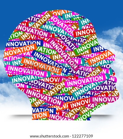 Business Idea Concept Present By Colorful Innovation Label in Head in Blue Sky Background - stock photo