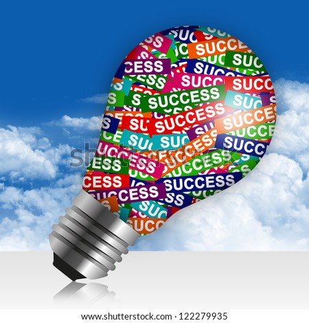 Business Idea Concept Present By Colorful Success Label in Light Bulb in Blue Sky Background - stock photo