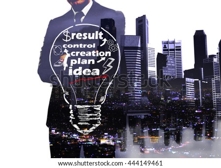 Business idea concept with businessman and cityscape on white background. Double exposure - stock photo