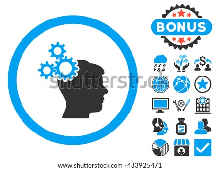 Business Idea icon with bonus pictures. Glyph illustration style is flat iconic bicolor symbols, blue and gray colors, white background.