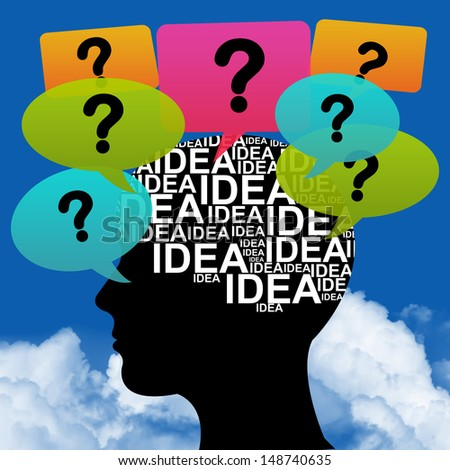 Business Idea Solution Concept Present by Black Head With Idea in Brain and Colorful Question Balloon Around in Blue Sky Background - stock photo